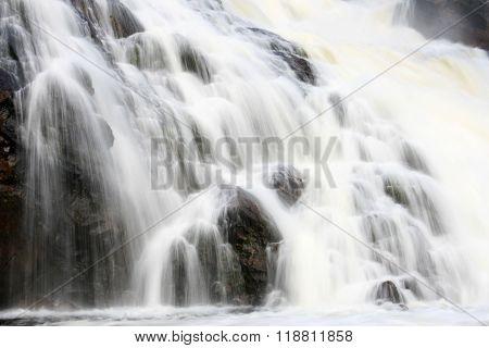 Waterfall on Kutsayoki river at Kola peninsula Russia. This waterfall is about 10 meters high.