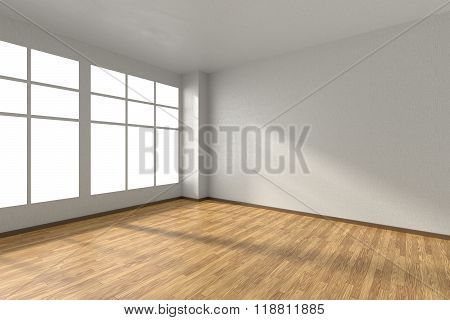 Empty Room With Wooden Parquet Floor, Textured White Walls And Window