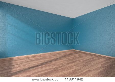 Empty Room With Parquet Floor And Textured Blue Walls
