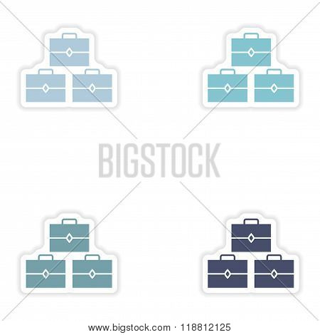 Set of paper stickers on white background treasure chests