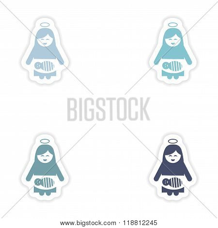 Set of paper stickers Virgin Mary newborn Jesus