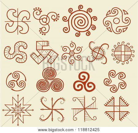 Ethnic tribal native sun symbol
