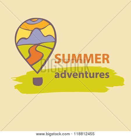Vector logo travel company. Summer Adventures. Balloon and mount