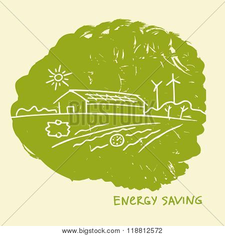 Vector illustration energy-efficient construction.Energy saving.