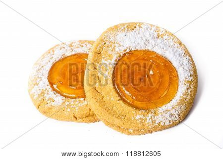 Apricot Jam Cookie Isolated On White Background