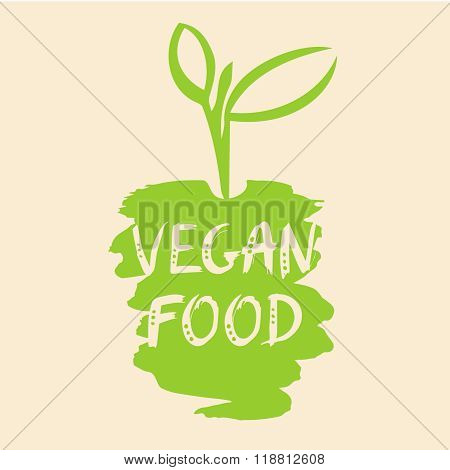 Vegan food vector illustration. The growth of plants, seedlings.