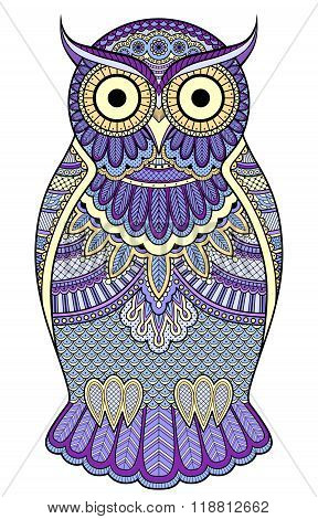 Graphic Ornate Blue Owl