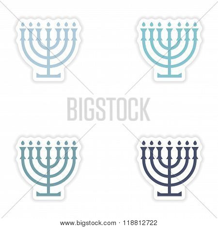 Set of paper stickers on white background candlestick candles