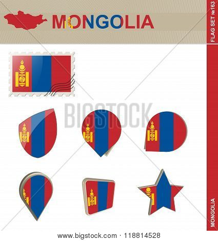 Mongolia Flag Set, Flag Set #163