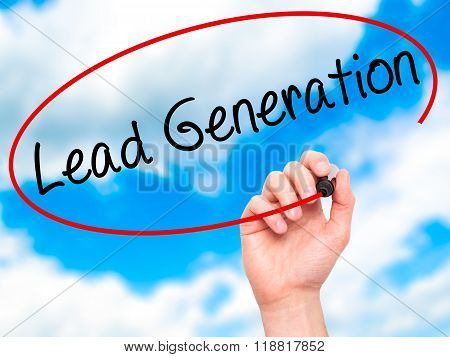 Man Hand Writing Lead Generation With Black Marker On Visual Screen