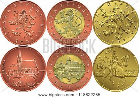 vector Set reverse and obverse czech money coin