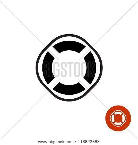 Lifebuoy Round Black Simple Silhouette Icon Symbol