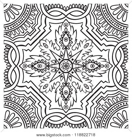 Hand Drawing Tile Vintage Black Line Pattern.