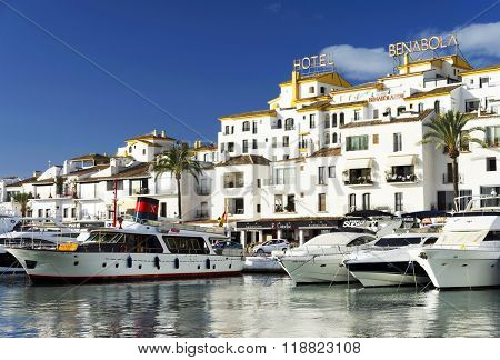 MARINA OF PUERTOO BANUS - OCTOBER 2015 - Luxurious yachts in Puerto Banus near Marbella on Costa del Sol, Andalusia, Malaga province, Spain