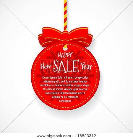 Happy New Year Sale Festive Ball Badge With Red Bow Knot And Braided String. Flat Colors Style With