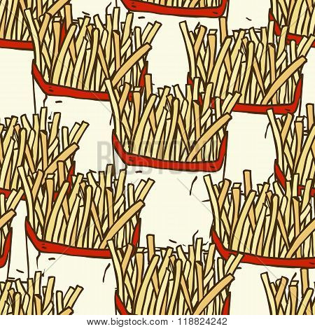 Seamless Pattern with French Fries in a Paper Wrapper