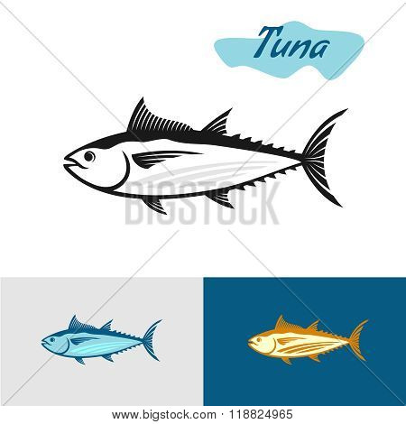 Tuna Black Silhouette. Simple Illustration Of A Tuna Fish.