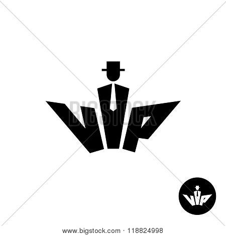 Vip Letters Black Logo. Silhouette Of A Gentleman In A Hat, Neck Tie An Suit. Common Crown Shape.