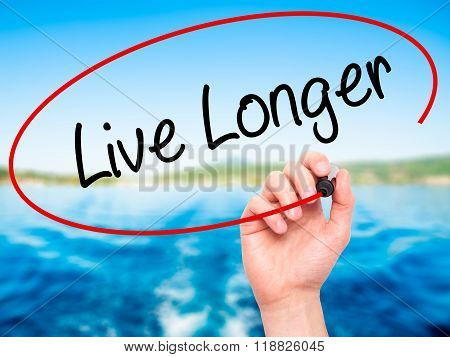Man Hand Writing Live Longer With Black Marker On Visual Screen