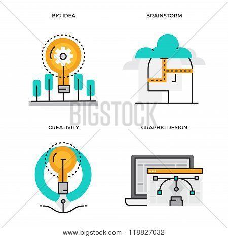 Flat line design vector illustration concept of Big Idea, Brainstorm, Creativity, Graphic Design. De