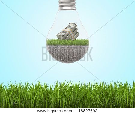 Light bulb with grass and dollars inside on sky background, bright green field around