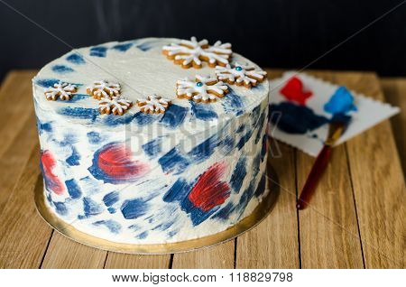 cake with snowflakes