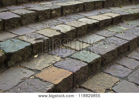 Steps Of Old Paving (setts, Coblestone Steps)