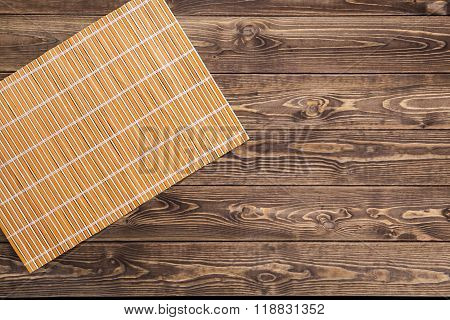 Bamboo mat on wooden table
