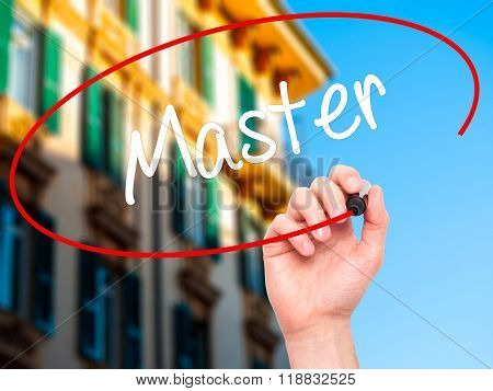 Man Hand Writing Master With Black Marker On Visual Screen