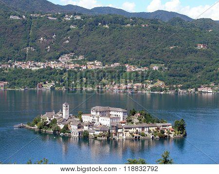 Island Of San Giulio On Lake Orta.