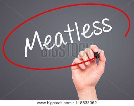 Man Hand Writing Meatless  With Black Marker On Visual Screen