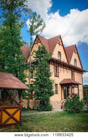 beautiful rural house with a gazebo