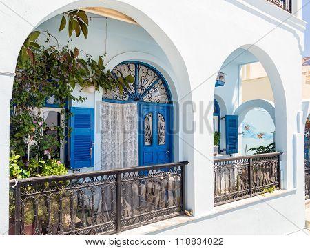 Colorful yard at Thira town on Santorini island, Greece