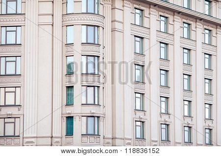Architecture multi-storey building with many windows