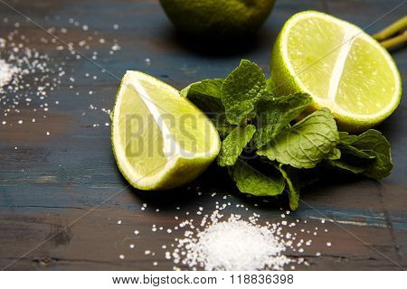 lime on a  dark wooden background