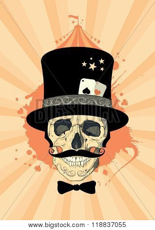 Circus design template with skull of a magician, rasterized version