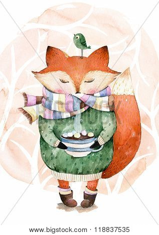 Cute little fox just like to drink hot coffee.Watercolor illustration