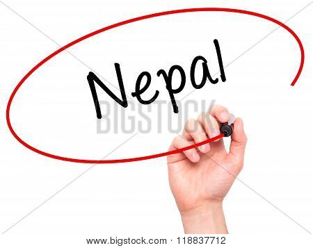 Man Hand Writing Nepal  With Black Marker On Visual Screen