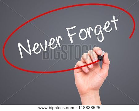 Man Hand Writing Never Forget  With Black Marker On Visual Screen