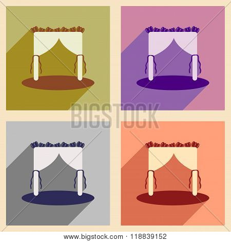 Set of flat web icons with long shadow wedding arch