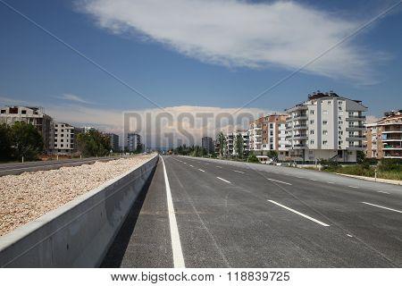New Asphalt City Highway In Summer Sunshine