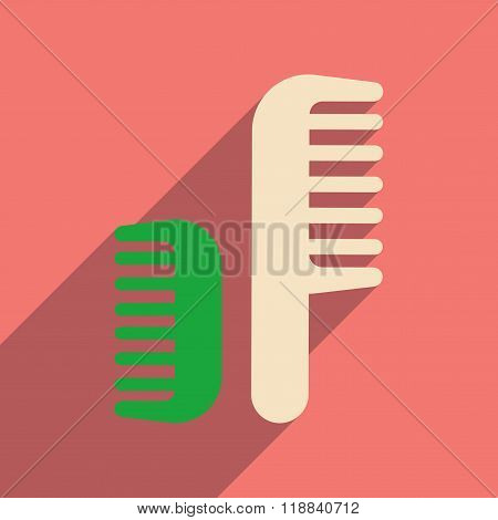 Flat icon with long shadow women combs