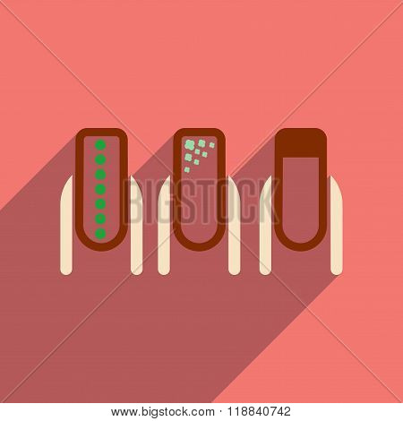 Flat icon with long shadow women manicure