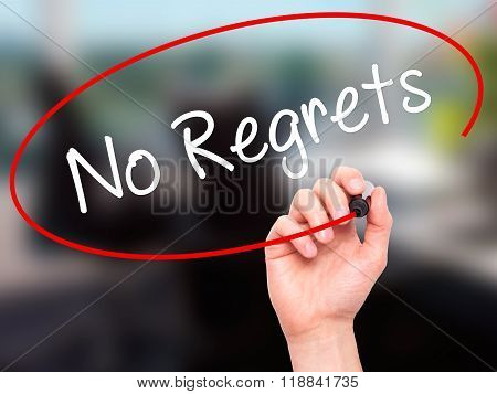 Man Hand Writing No Regrets With Black Marker On Visual Screen