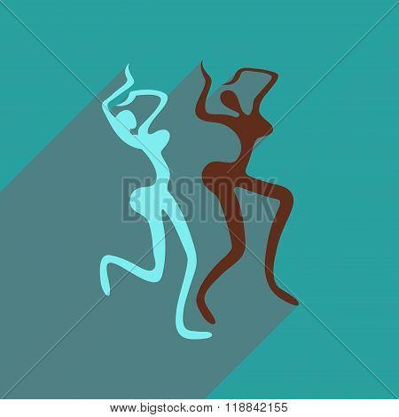 Flat web icon with long shadow Brazilian dancer