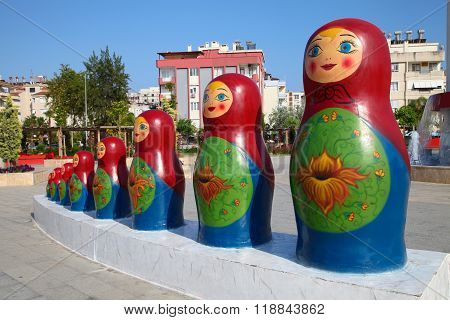 ANTALYA, TURKEY - JUNE 7, 2015: Sculpture Matryoshkas - Russian Nesting Dolls. Antalya, Turkey