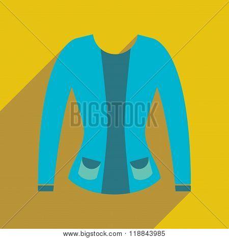 Flat icon with long shadow women cardigan