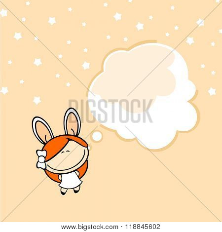 Greeting card with a bunny girl and a thought bubble window for your text (raster version)