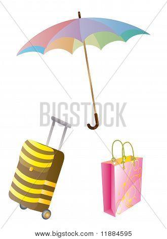 umbrella and luggage