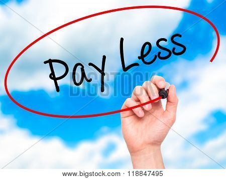 Man Hand Writing Pay Less  With Black Marker On Visual Screen